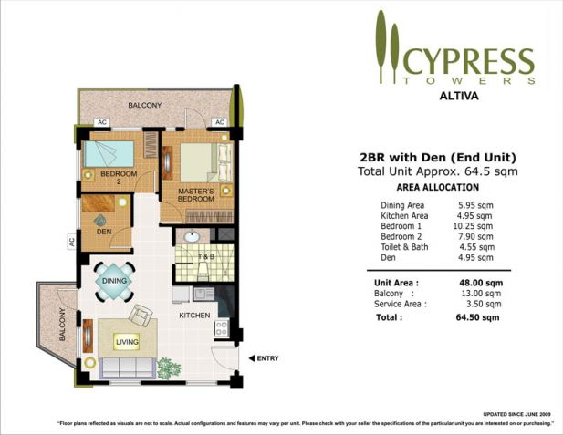 2 Bedroom End Unit Cypress Towers in Taguig near Acacia Estates, BGC, Mckinley - 1