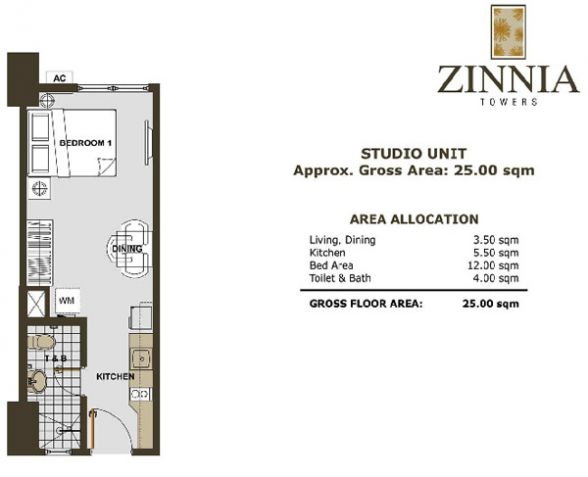 Zinnia Tower 1br in QC near Balintawak,Rooosevelt Mrt station, Sm North, Trinoma - 1