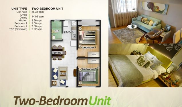 One Oasis Ortigas, 2  Bedroom Unit for Sale, Pasig, Filinvest Land Inc. - 4