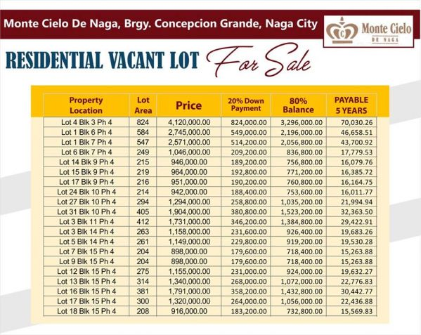 Vacant Lots For Sale at Monte Cielo, Naga City, Camarines Sur - 1